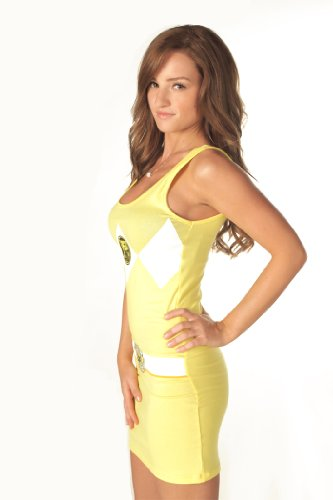 [The Power Rangers Yellow Ranger Sexy Tunic Tank Dress (Juniors X-Large)] (Yellow Samurai Ranger Costume)