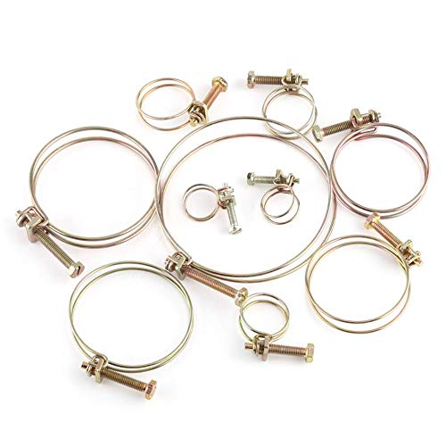 Ochoos 10pcs/set Double Wire Hose Clip Clamps 16mm-100mm Hose Clamp Fastener Hardware - (Size: 76mm)