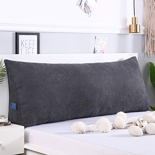 Large Bolster Headboard Backrest Pillow, Bay Window Long Pillow Triangular Reading Pillow Bed Backrest for Bed Sofa with Washable Cover-Dark Grey 90x50x20cm(35x20x8inch)