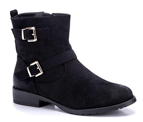 Schuhtempel24 Damen Schuhe Klassische Stiefeletten Stiefel Boots Blockabsatz Schnalle/Used Look 3 cm Schwarz