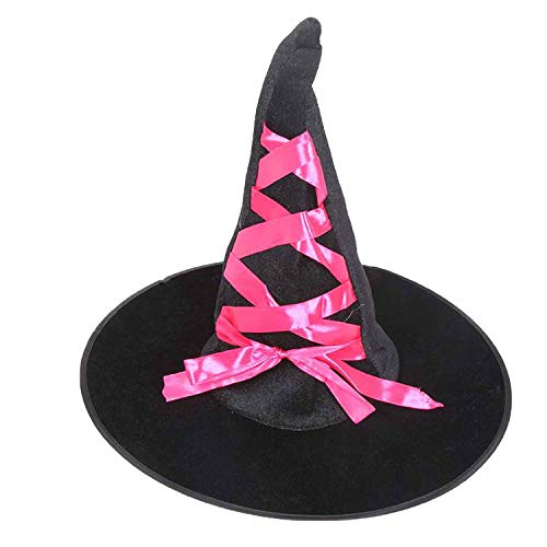 Props Flannelette Ribbon Wizard Hat Adult Black Witch Hat Costume Halloween Accessories,Rosy