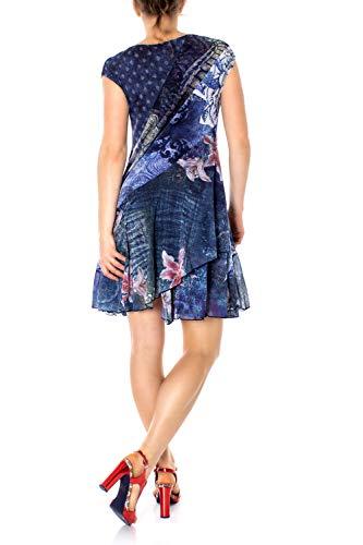 Vestido Dress Desigual Mujer Sleeve Short Woman Azul Osages Blue Para YwwTrdq