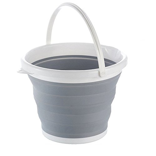 10' Gravel (Portable Collapsible Bucket 2.65 gallon, Fold-able Water Container for Fishing, Camping, Aquarium Gravel Clean Car Washing or Home Storage, Grey (Grey+white))