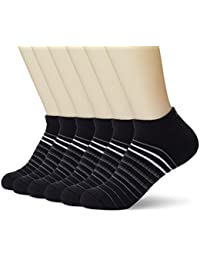 Women's Athletic 6-Pack No Show Running Socks Stripe Cushioned Low Cut Comfort fit