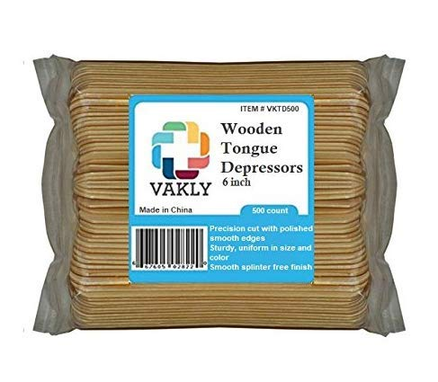 (Vakly Wooden 6 inch Tongue depressors (Pack of 500))