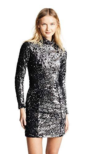 (MILLY Women's SequinTurtleneck Dress, Silver, 12 )