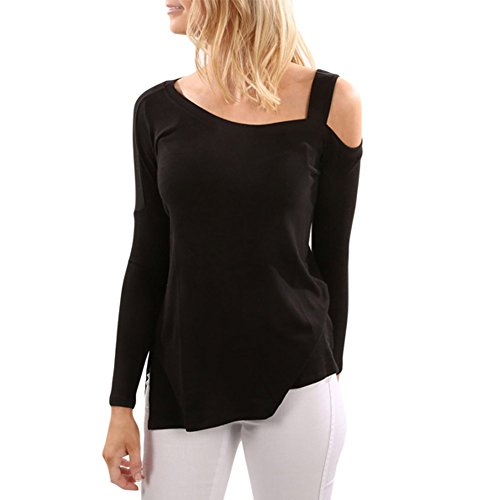 Kalin Women's Cold Cut Shoulder Side Split Tunic Knitted Sweater Tops Shirts