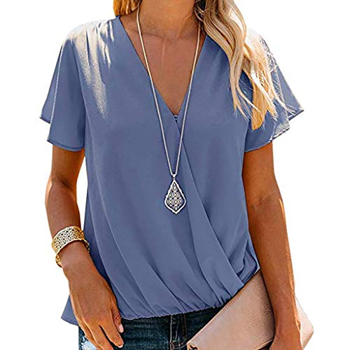 MOSERIAN Women's Tops Ladies Sexy Short Sleeve V-Neck Shirt Solid Pullover Blouse Tops Blue ()