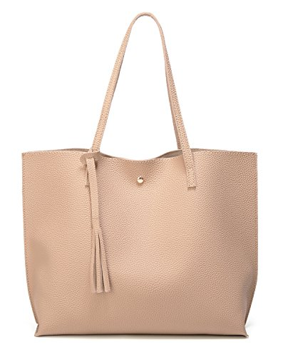 New Tote - Women's Soft Leather Tote Shoulder Bag from Dreubea, Big Capacity Tassel Handbag Apricot