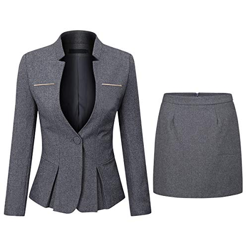 Women's 2 Piece Business Dress Skirt Suit Set Office Lady Slim Fit Blazer and Skirt