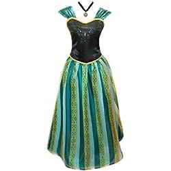 Adult Women Frozen Anna Elsa Coronation Dress Costume (XS Women Size, Amazon Green)