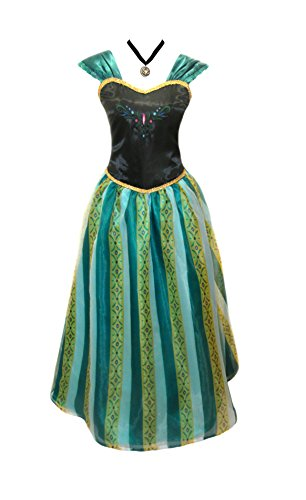 Adult Women Frozen Anna Elsa Coronation Dress Costume + Anna Princess Choker Necklace Accessory (Women Size Medium, Amazon Green) -