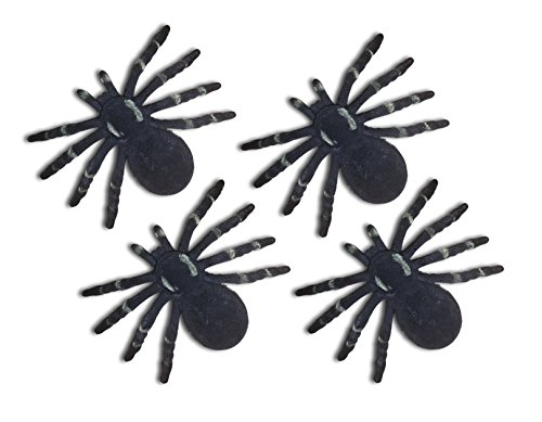 Halloween Black Fuzzy Spider 6-inch Decoration (Pack of 4) ()