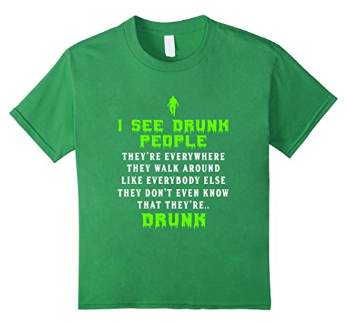 Kids FUNNY I SEE DRUNK PEOPLE T-SHIRT St Patricks Day Gift 10 Grass (Two Person Halloween Costumes)