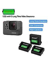 Ailuki GoPro: batería recargable (3 unidades, 1550 mAh, 3 canales, para GoPro Hero 5, negro, hero 6, negro y negro Hero 7, compatible con las cámaras originales)