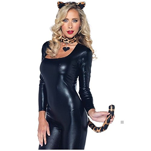 Lovely Leopard Kit Adult Teen Cougar Cat Ears Tail Choker Halloween Costume Asry -