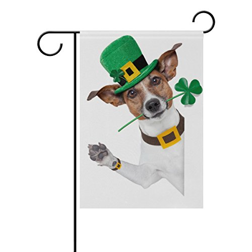 Cheap Vantaso Outdoor Garden Flag St Patrick Day Hello Dog With Green Hat and Clover Polyester Double Sided Printing Fade Mildew Proof for Courtyards Garden Decorative 28×40 inch
