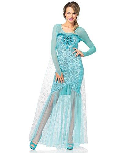 Adult Queen Elsa Costumes (Leg Avenue Women's Fantasy Snow Queen Elsa Costume, Aqua, Small)