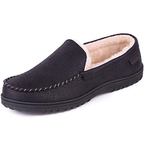 Men's Wool Micro Suede Moccasin Slippers House Shoes Indoor/Outdoor (44 (US Men's 11), Faux Leather - Black)