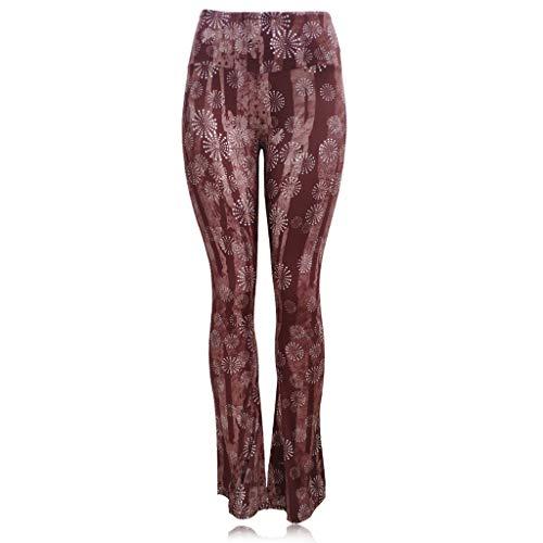 Women's High Waist Wide Leg Long Palazzo Bell Bottom Yoga Pants Floor Length Ethnic Boho Flared Palazzo Pants
