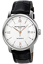 Baume and Mercier Classima Silver Dial Black Leather Automatic Mens Watch 10075