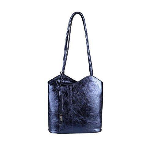 OBC Only-Beautiful-Couture , Sac à main porté au dos pour femme Turquoise Türkis (Kroko) 27x29x8 cm (BxHxT) Bleu Foncé (Métallique)