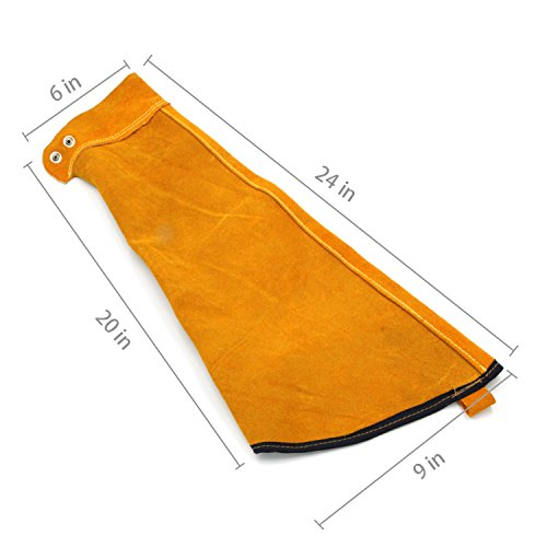 Heat Resistant Welding Sleeves,Leather Sleeves for welding, Button closure,Spark Resistant Protection,1 Pair (yellow) by Handook (Image #3)