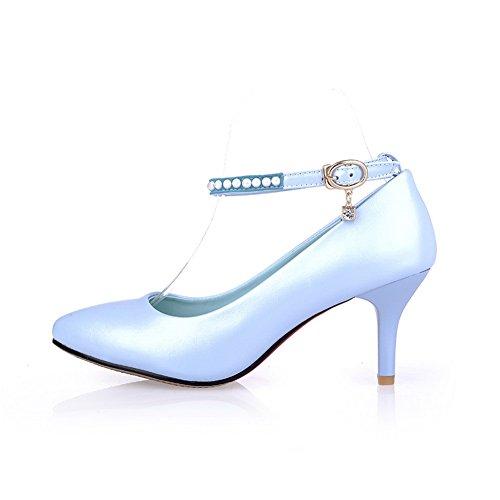 BalaMasa da donna, tomaia a punta fibbia kitten-heels gomma pumps-shoes, Blu (Blue), 35