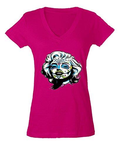- Zombie Face Marilyn Monroe Ladies V-Neck T-shirt Halloween Gift Shirts 2XL Pink h5
