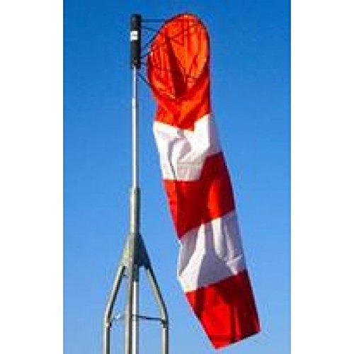 Safety Flag Nylon Airport Windsock, Striped, Orange and White, 36 inches x 144 inches