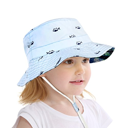 b50955421f1 VBIGER Kids Cotton Bucket Hat Reversible Sun Hat Foldable Beach Cap with  Adjustable Chin Strap