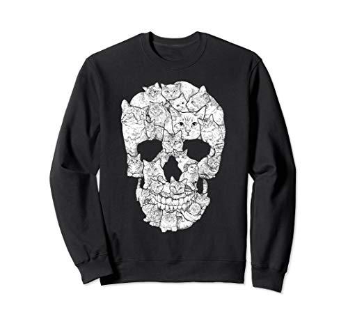 Cat Skull T-Shirt - Kitty Skeleton Halloween Costume Idea Sweatshirt ()
