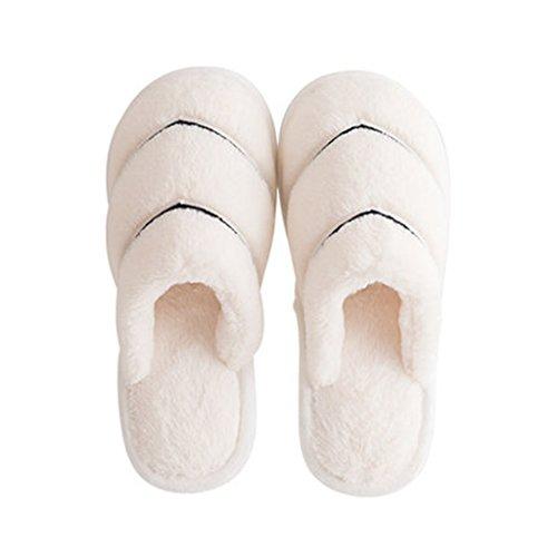 Zapatillas de Algodón Dama Engrosada casa Interior Zapatos Antideslizantes de Suela Blanda Blanco