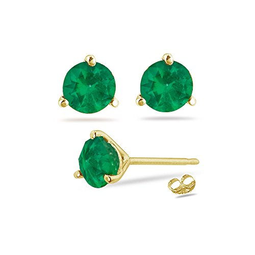 - 0.95-1.41 Cts of 5.5 mm AA Round Natural Emerald Stud Earrings in 18K Yellow Gold