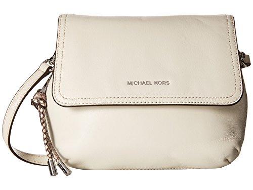 MICHAEL Michael Kors Womens Isable Leather Expandable Saddle Handbag Ivory Small