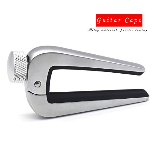 Zinc alloy Wide Guitar Capo by SiYear,Ukulele Clamp Trigger Suitable for Acoustic,Classical, 6 & 12 String Acoustic Classical Electric Mandolin,Guitar,Bass,Banjos,All Types String Instrument-(Silver)