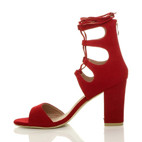 Red Womens Sandals Size High Ankle Shoes Suede Heel Lace Wrap Around Ajvani up Tie 1Hxd7qgw74