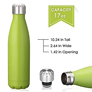 KING DO WAY 17oz Double Wall Vacuum Insulated Stainless Steel Water Bottle Perfect for Outdoor Sports Camping Hiking Cycling Picnic (Green)