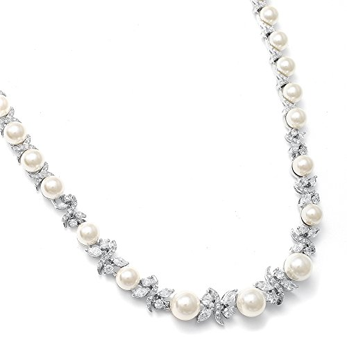 Mariell Luxurious Ivory Pearl and Cubic Zirconia Bridal Wedding Necklace with Genuine Platinum]()