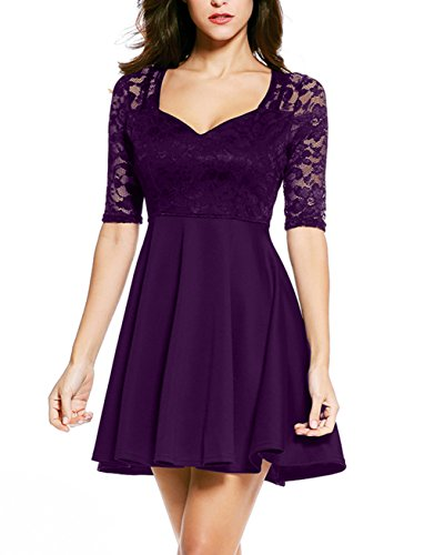NuoReel Women's Lace Bodice Skater Dress (X-Large, Purple Halfsleeve)