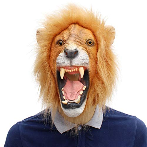 ZQG masks Animal Head Lion Luxury mask, Novelty Halloween Role Playing Costume Party Latex -