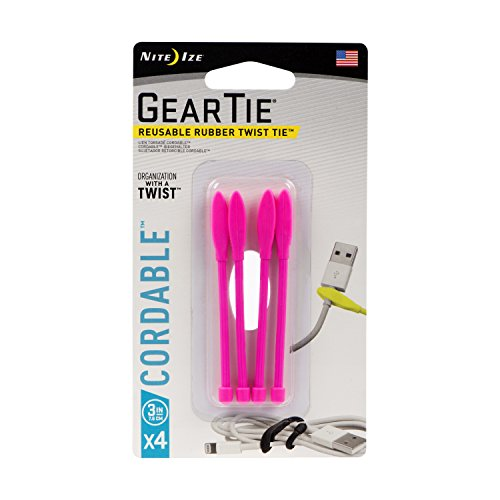 Nite Ize Gear Tie Cordable, The Orginal Reusable Rubber Twist Tie with Stretch-Loop for Cord Management + Storage, 3-Inch, Neon Pink, 4 Pack, Made in The USA