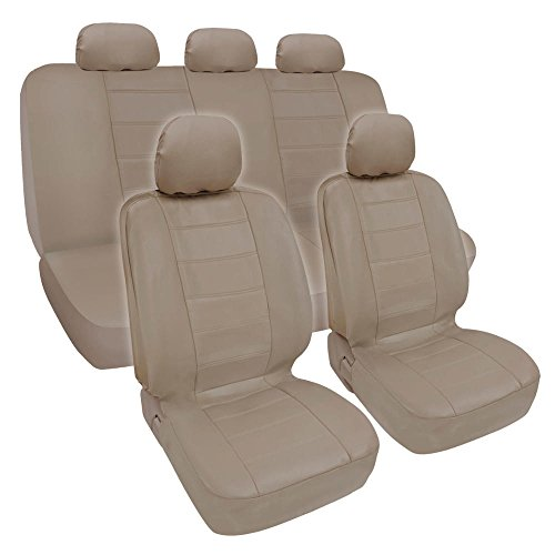 Beige Synthetic Leather Seat Covers for Car & SUV Complete Set - Premium Leatherette, Side Airbag Compatible