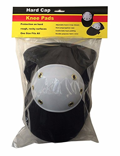 Review Heavy Duty Black Knee Pads Hard Polypropylene Cap Comfortable Foam Padding 2pc Pair