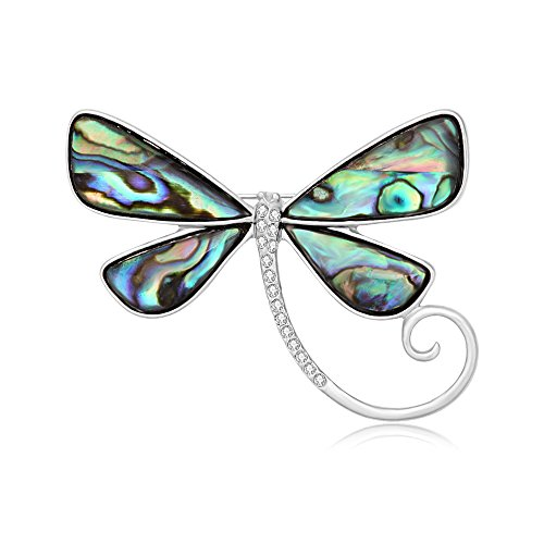 SENFAI Dragonfly Abalone Shell Brooch Suit Lapel Pin Eyeglass Holder Wearable Art (Silver)