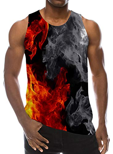 Goodstoworld Plus Size Tanks Tops Men Gay 3D Fire Smoke Red Black Printed Graphic T-Shirts Casual Hipster Tops Tees Vacation Gift XXL