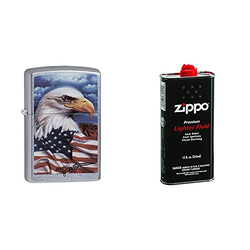 le with Flag Pocket Lighter, Street Chrome with 12 oz Lighter Fluid ()