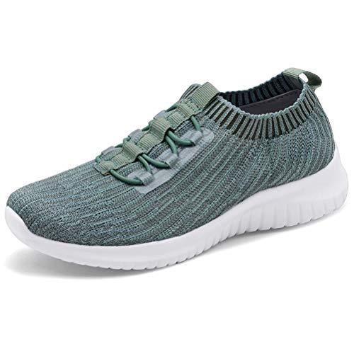 LANCROP Women's Comfortable Walking Shoes - Lightweight Mesh Slip On Athletic Sneakers 9 M US Green