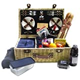 Picnic Pack Upscale Service for 4 Persons with Fleece Blanket Classic Wicker Basket, Blue, One Size
