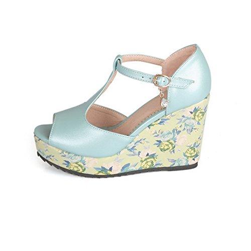 AllhqFashion Women's Solid PU High-Heels Peep Toe Buckle Sandals Skyblue mm6DKN